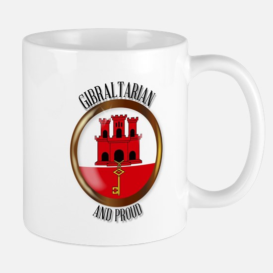 Gibraltar Proud Flag Button Mugs