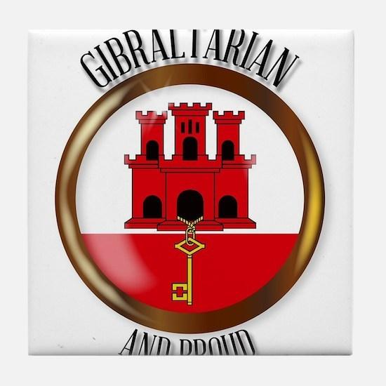 Gibraltar Proud Flag Button Tile Coaster