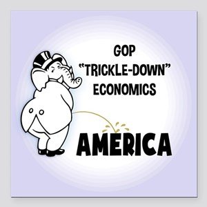 "Trickle Down 1217 Square Car Magnet 3"" x 3"""