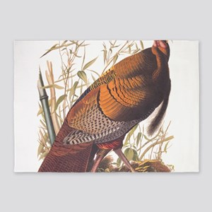 Audubon Wild Turkey Vintage Art 5'x7'Area Rug