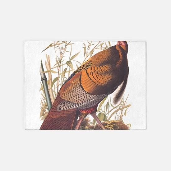 Audubon Wild Turkey Vintage Art 5'x7'Area Rug