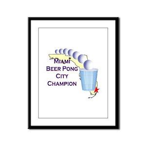Miami Beer Pong City Champion Framed Panel Print