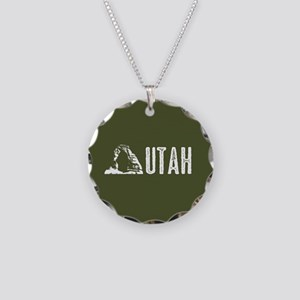 Utah: Delicate Arch Necklace Circle Charm