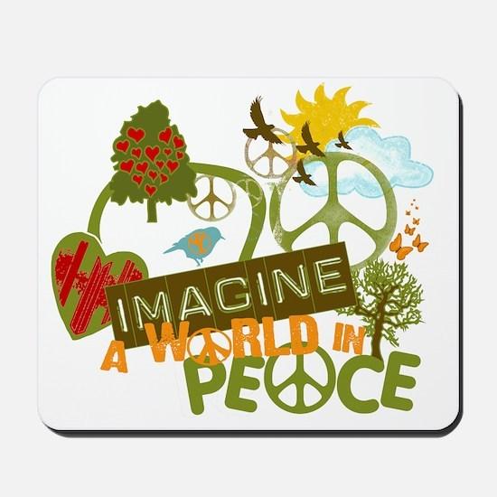 Imagine Peace Unique Collage Art Mousepad