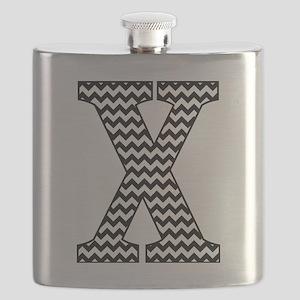 Black and White Chevron Letter X Monogram Flask