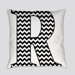 Black and White Chevron Letter R M Everyday Pillow