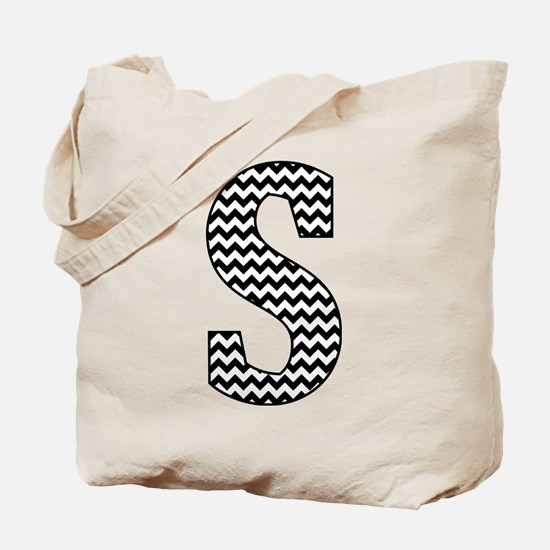 Black and White Chevron Letter S Monogram Tote Bag