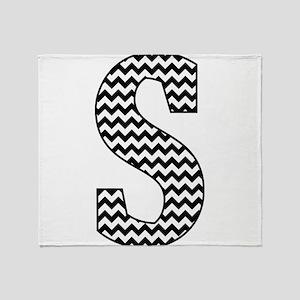 Black and White Chevron Letter S Mon Throw Blanket