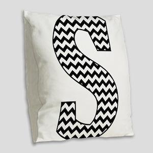 Black and White Chevron Letter Burlap Throw Pillow