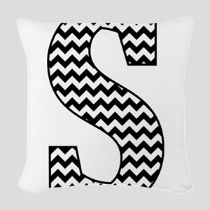 Black and White Chevron Letter Woven Throw Pillow
