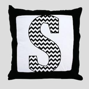 Black and White Chevron Letter S Mono Throw Pillow