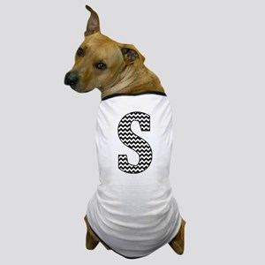 Black and White Chevron Letter S Monog Dog T-Shirt