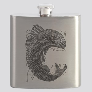 Black and White Jumping Trout Flask