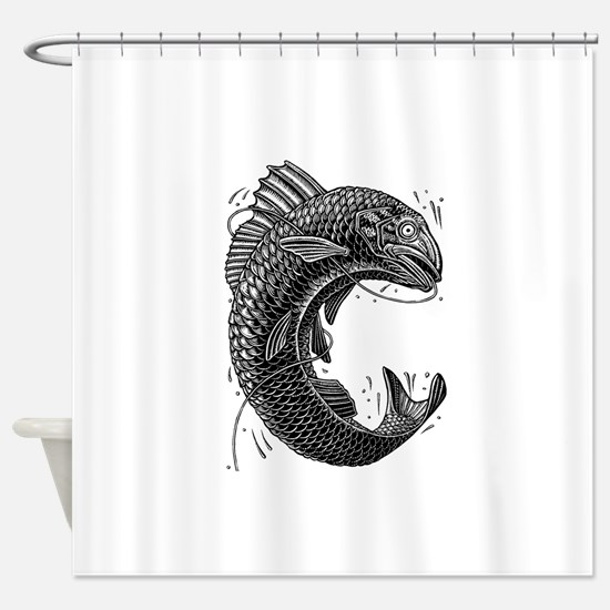Black and White Jumping Trout Shower Curtain