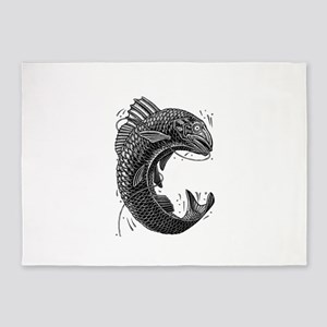 Black and White Jumping Trout 5'x7'Area Rug