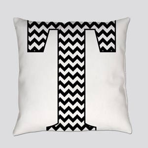 Black and White Chevron Letter T M Everyday Pillow