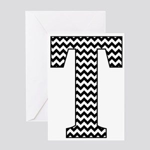 Black and White Chevron Letter T Mo Greeting Cards
