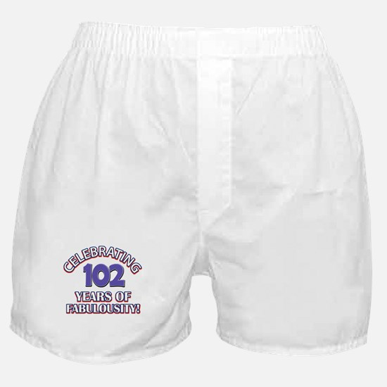 Fabulous At 102 Birthday Designs Boxer Shorts