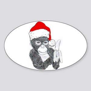 MONKEY DRESSED FOR CHRISTMAS Oval Sticker