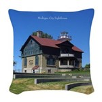 Michigan City Lighthouse Woven Throw Pillow
