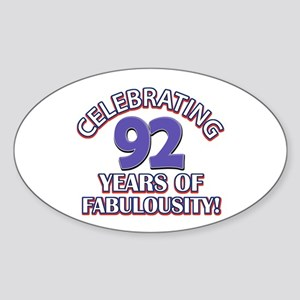 Fabulous At 92 Birthday Designs Sticker (Oval)