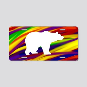 Gay bear rainbow art Aluminum License Plate