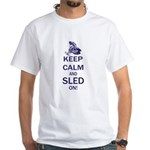 Keep Calm and Sled On White T-Shirt
