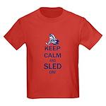 Keep Calm and Sled On Kids Dark T-Shirt