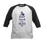 Keep Calm and Sled On Kids Baseball Jersey