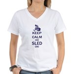 Keep Calm and Sled On Women's V-Neck T-Shirt