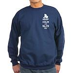 Keep Calm And Sled On Sweatshirt (dark)