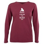 Keep Calm And Sled On Plus Size Long Sleeve Tee