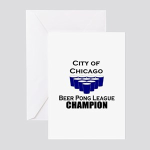 City of Chicago Beer Pong Lea Greeting Cards (Pk o