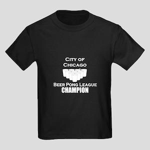 City of Chicago Beer Pong Lea Kids Dark T-Shirt