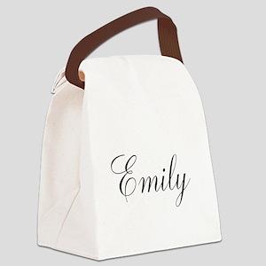Personalized Black Script Canvas Lunch Bag