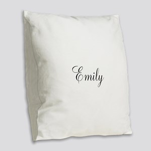 Personalized Black Script Burlap Throw Pillow