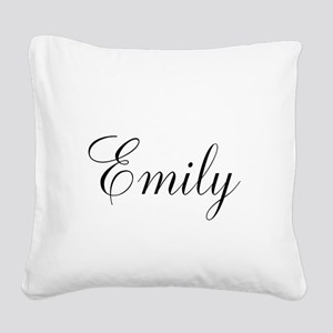 Personalized Black Script Square Canvas Pillow