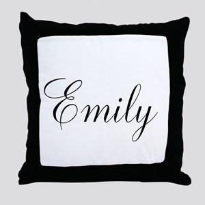 Personalized Black Script Throw Pillow