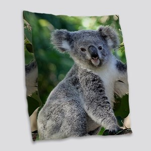 Cute cuddly koala Burlap Throw Pillow