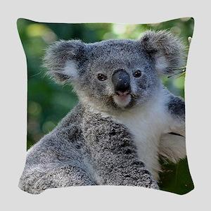 Cute cuddly koala Woven Throw Pillow