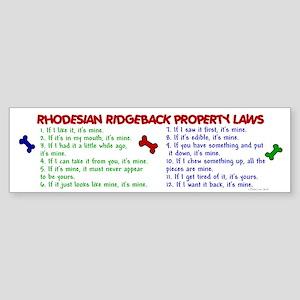 Rhodesian Ridgeback Property Laws 2 Sticker (Bumpe