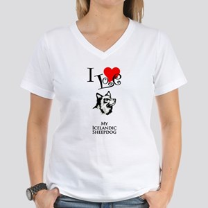 Icelandic Sheepdog Women's V-Neck T-Shirt