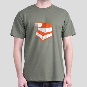 Stack Of Orange Books Dark T-Shirt