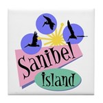 Sanibel Retro Pelicans - Tile Coaster