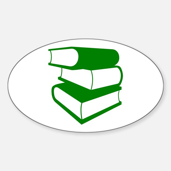 Stack Of Green Books Sticker (Oval)
