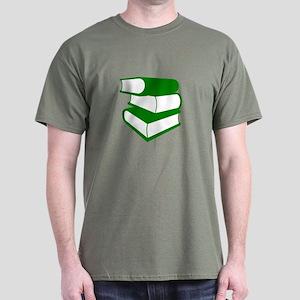 Stack Of Green Books Dark T-Shirt