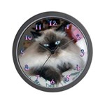 HIMALAYAN SEAL-POINT CAT WALL CLOCK