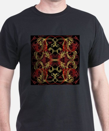 red,gold and black festive modern pattern T-Shirt