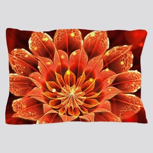 Red Dahlia Fractal Flower with Beautif Pillow Case
