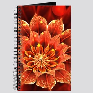 Red Dahlia Fractal Flower with Beautiful B Journal